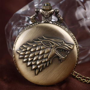 TV series Game of Thrones Stark House Crest Wolf Lce and Fire Design Unique Quartz Pocket Watch Men Women Children Necklace Gift Clock