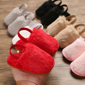 Wholesale pudcoco Newborn Baby Kids Sweet Sandals Slippers Boys Girls Home Indoor Floor Solid Fur Flock Soft Casual Shoes Sneakers M