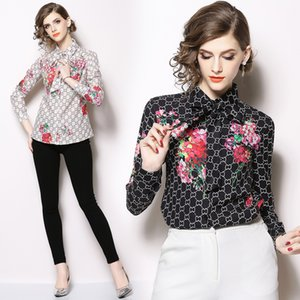 New 2019 Spring Runway Luxury Floral Print Collar OL Women's Ladies Casual Office Button Front Bow Tie Neck Long Sleeve Blouses Shirts Tops