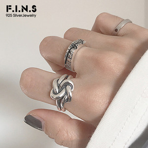 F.i.n.s Fashion Big Tie A Knot Rings For Women 2019 Uneven Carved 925 Sterling Silver Finger Rings For Decoration Female Costume SH190726
