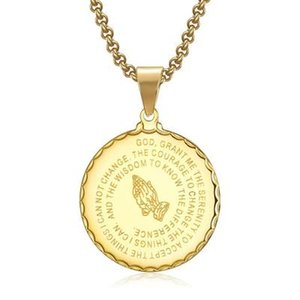 Wholesale Men s Medal Pendant Prayer Necklace With Inch Free Chain Christian Jewelry Stainless Steel Praying Hands Coin Medal Pendant Necklace