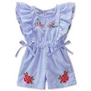 Wholesale INS Little Girls Cotton Onesies Rompers Kids Jumpsuits Overalls for Baby Embroidery Striped Rompers Jumpsuits One Piece Blue Overalls T