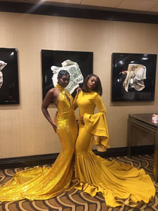 Wholesale Yellow Two Style Mermaid Prom Dresses 2019 New Sequined Sleeveless Sweep Simple Formal Evening Dress Party Gowns