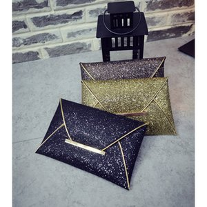 Wholesale designer womens sequins envelope bag evening party purse clutch handbag black gold Messenger bags luxury purse Clutch Handbag colors gift