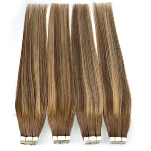 100% Human Hair Tape in Extensions Balayage Highlighted Tape on Remy Hair Extensions Omber Brazilian Hair Extensions 50g 20pcs on Sale