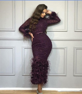 2020 Mermaid Evening Dresses High Neck Purple Tulle with Feather Beads Long Sleeve Trumpet Prom Gowns Sexy Robe De Soiree on Sale