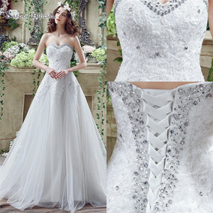 White A-line Tulle Sweetehart Lace Up With Appliques Sequins Sweep Train Sleevless Bride Dress Wedding Bridal Gowns SQS044 on Sale