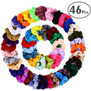 Wholesale 46 Set Vintage Hair Scrunchies Stretchy Velvet Scrunchie Pack Women Elastic Hair Bands Girl Headwear Solid Rubber Ties