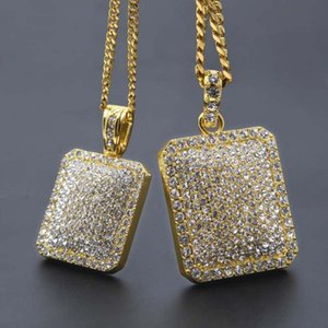 Wholesale Hot Sale Tag Crystal Pendant Necklace Hip Hop Cuban Chain Necklaces Fashion Men Necklace Jewelry Gold Silver