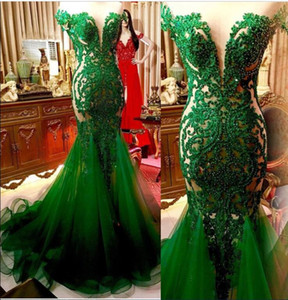 Wholesale Emerald Green Lace Mermaid Evening Dresses Sheer Cap Sleeves Tulle Applique Beaded Ruched Long Formal Prom Party Gowns