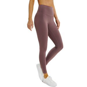 L-28 Naked Color Women Girls Yoga Pants Solid Color Sports Gym Wear Leggings High Waist Elastic Fitness Lady Overall Tights Workout