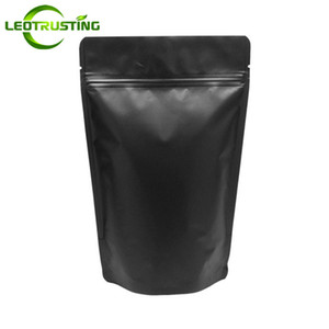 Wholesale Leotrusting Matt Black Aluminum Foil Ziplock Bag Stand up Black Gift Zip Pouch Doypack Coffee Powder Nuts Biscuits Packaging Bag