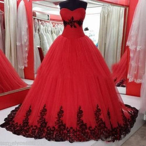 Wholesale Black And Red Gothic Ball Gown Wedding Dresses Sweetheart Lace Appliques s Colorful Bridal Gowns Lace Up