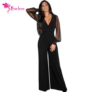 Wholesale Dear lover Long Black Rompers Womens Jumpsuit Winter Autumn Party V neck Embellished Cuffs Mesh Sleeves Loose Club Pants Lc6650 Y19051501