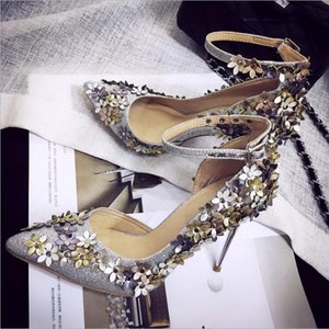 Wholesale Hot Flower Pointed Wedding Shoes Cheap Pumps Fashion High Heel Party Toe Bridal Shoes Evening Toe Rivets Prom Women Shoes