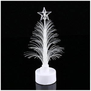 Wholesale Colored Fiber Optic LED Light up Mini Christmas Tree with Top Star Battery Powered QP2