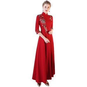 Wholesale Chinese Traditional Wedding Dress Elegant High Class Cocktail Party Garment Special Occasion red Cheongsam Chinese Factory Man Made