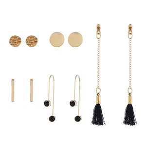 Wholesale New fashion sequin strip stud earrings jewellery simple long chain black tassel earrings pair set