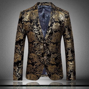 High-end Fashion Luxury Men's Gold Flower Cardigan Business Casual Suit Wedding Tuxedos Wedding Dress Plus Size Groom Wear