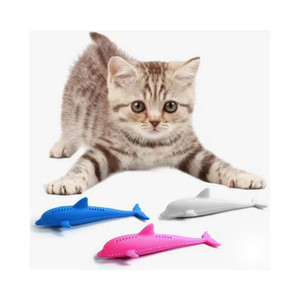 Wholesale Cat Toys Soft Silicone Mint Fish Shaped Toothbrush Interactive Fish Catnip Toy Pet Cleaning Teeth Chew Dog Toys Pet Cat Supplie