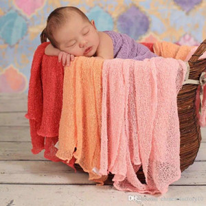 Wholesale DHL Newborn Baby Photography Blankets Props Swaddling Cotton Yarn x150cm Elastic Wraps Baby Photography Costume Cute Hot Sale