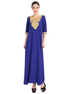 Wholesale Fashion Women Muslim Dress Half Sleeve Sequined Split Abaya Kaftan Islamic Arab Robe Maxi Dress Black Orange Blue G9007BL M
