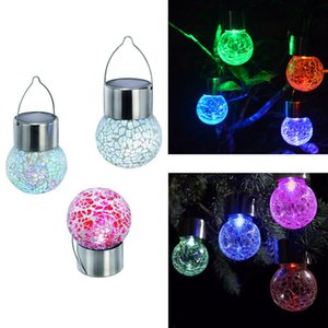 Solar Powered Color Changing outdoor led light ball Crackle Glass LED Light Hang Garden Lawn Lamp Yard Decorate Lamp LJJZ437
