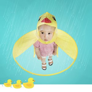 Wholesale Cute Raincoat Cartoon duck Kids Rain Coat UFO Children Umbrella Hat Magical Hands Free Tops Boys And Girls Windproof Poncho Baby