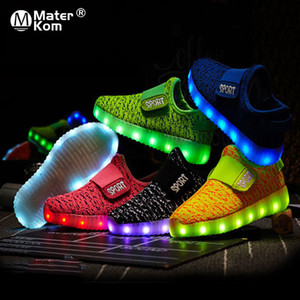 Wholesale Size 25-37 Kids Led USB Recharge Glowing Shoes Children's Hook Loop Shoes Children's Glowing Sneakers Kids Led Luminous Shoes SH190916
