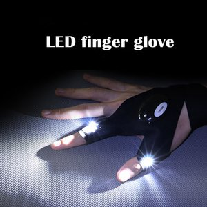 Wholesale 1pc Black Auto Repair Finger Glove Night Car Repair Tools Work Outdoors Fishing Survival Tool Creative Hiking LED Lighting Gloves