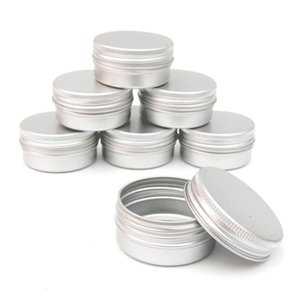 Wholesale 80pcs ml Flat Silver Metal Tins Jars Empty Slip Slide Round Containers With Tight Sealed Twist Screwtop Cover
