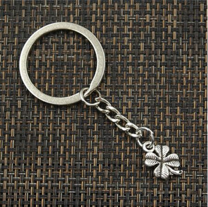 Wholesale free ship Key Ring Keychain Jewelry Silver Plated hollow four Leaf Clover Charms Jewelry Making
