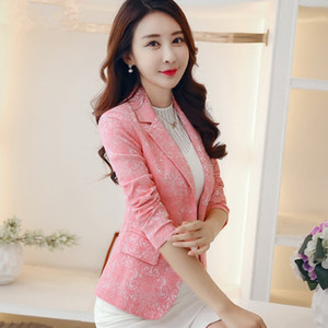 Autum female outerwear Fashion Women Blazer jacquard suit Jacket Slim One button Long sleeve Women coat