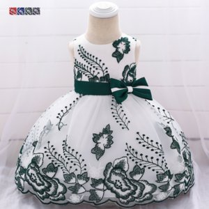 Wholesale 2019 New Baby Birthday Dress Bow Embroidered Mesh Dress Infant Party Wedding Clothes Lace Princess Sundress Years Old Baby