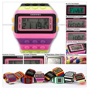 Wholesale Mens Ladies Blocks Constructor Digital LED Backlight Alarm Sport Wrist Watch LED088 New Design Blocks Style