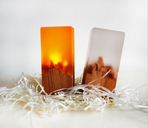 Wholesale resin tables resale online - Resin solid wood nightlight gift lamp led table lamp night lamp new strange LLFA