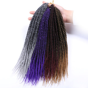 Wholesale crochet braids roots inch Senegalese Twist Two Tone Crochet Braid Hair Extensions Ombre Kanekalon Synthetic Braiding Hair