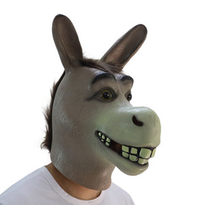 Wholesale Funny Adult Creepy Funny Donkey Horse Head Mask Latex Halloween Animal Cosplay Zoo Props Party Festival Costume Mask