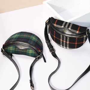 Wholesale New chest bag autumn and winter fashion plaid plush cloth with PU leather shoulder diagonal female bag small package factory direct