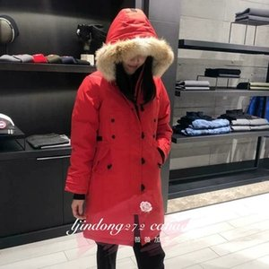 Wholesale Women s Parkas WINTER Kensington Down Parkas WITH HOOD Snowdome jacket Real wolf fur Collar White Duck GOOSE Outerwear Coats