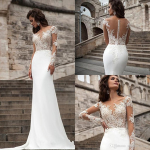 Millanova 2019 Sexy Sheer Long Sleeves Lace Wedding Dresses Beach A Line Sweep Train Appliqued Backless Chiffon Bohemian Bridal Gowns 1222 on Sale