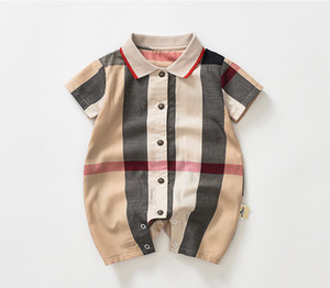 ropa de bebe al por mayor-Baby Boys Plaid Romper Toddler Kids Plaid Lapel Single Breasted Manga corta Monja Diseñador Infantil Onesie Recién nacido Casual Ropa Y2319