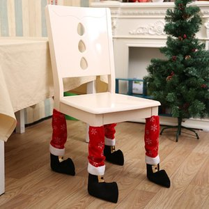 Wholesale foot stools resale online - Christmas Chair Foot Socks Table Legs Cover Stocking Santa Boots Decoration Hotel Restaurant Bar Stool Table Chair Covers case GGA2826