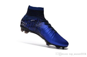 Wholesale Blue CR7 Unisex Soccer Cleats Original Mercurial Superfly V SX Neymar Kids Soccer Shoes High Ankle Cristiano Ronaldo Womens Football Boots