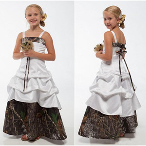 Wholesale Camo Flower Girls Dresses Spaghetti Straps Lace-up Back Floor Length Wedding Guest Dresses A Line Kids Formal Wear Custom Made