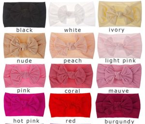 Wholesale 0 Years Baby Bows Nylon Headbands Toddler Girls Soft Elastic Nylon Head Bands Candy Colors Knot Bow Turban Head Wraps Hair Bands