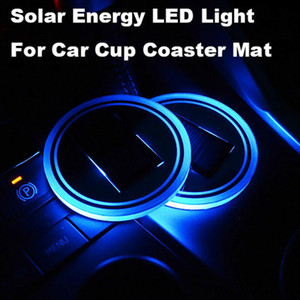 Wholesale LED Solar Car Cup Mat Holder Pad Coaster Light Accessories Interior Decoration Atmosphere for BMW Jeep Benz VW Audi Ford Chevrolet