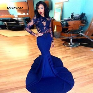 SATONOAKI Gorgeous High-neck Long Sleeve Prom Dresses 2019 Lace Stretch Satin Mermaid Celebrity Gowns Royal Blue Zuhair Murad