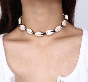 Wholesale shell tin resale online - New Fashion Black Rope Chain Natural Seashell Choker Necklace Collar Necklace Shell Choker Necklace for Summer Beach Gife GB866