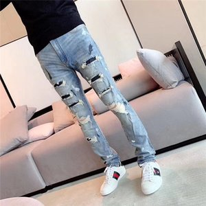 2019 Arm Fashion Designer Mens Ripped Biker Jeans Leather Patchwork Slim Fit Black Moto Denim Joggers For Male Distressed Jeans Pants on Sale